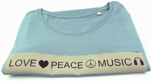 Damen T-Shirt BIO-BW blau love peace music - Fair Wear
