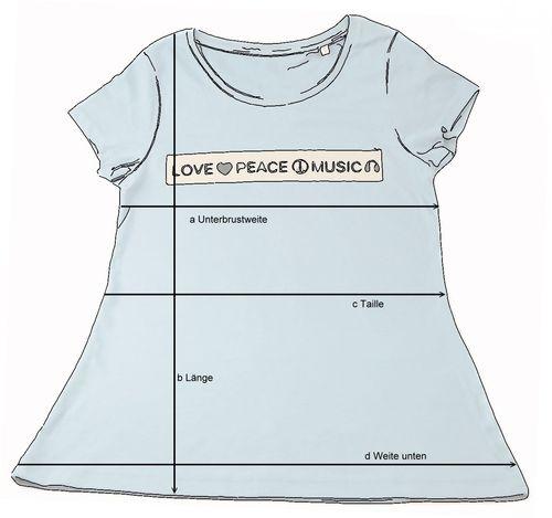02cc938f145fa Damen T-Shirt BIO-BW blau love peace music - Fair Wear. Zurück. Weiter
