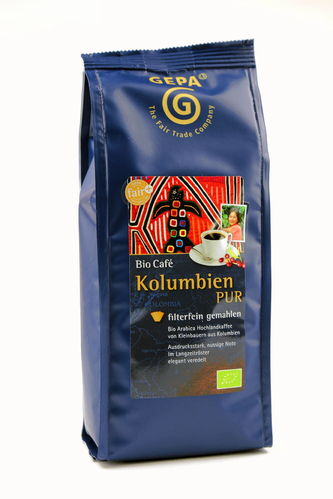 BIO Kaffee Kolumbien PUR gemahlen Fair Trade