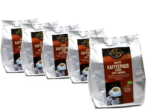 BIO Kaffee Pads Crema 100% Arabica 5er Set Fair Trade