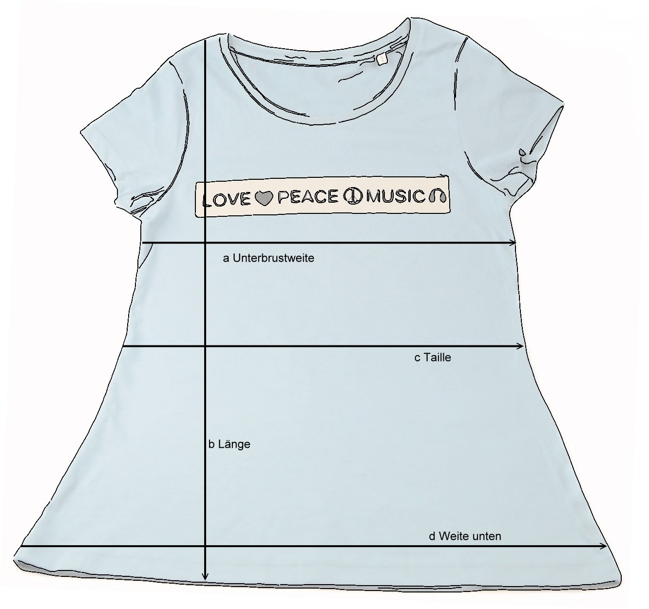 Maße T-Shirt love-peace-music rubycorn kollektion